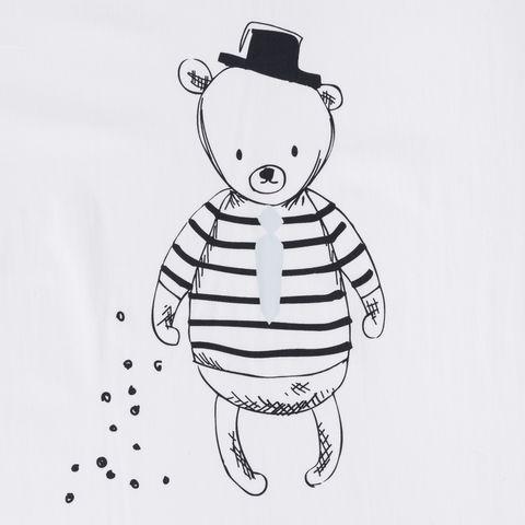 Baumwolle Popeline Bär Punkte in schwarz auf weißem Grund Paneldruck