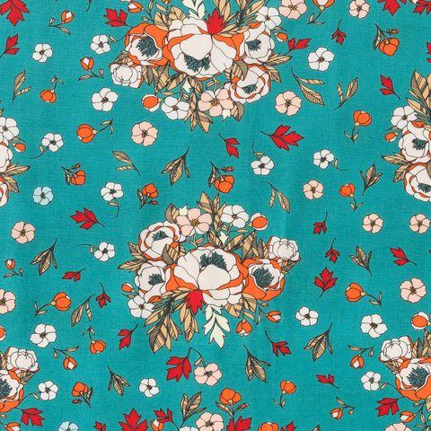 Baumwolle Voile Blütenmuster beige orange rot auf türkisfarbenem Grund