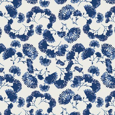 Jersey Baumwolle Elasthan Blumen Blüten dunkelblau auf creme weiß