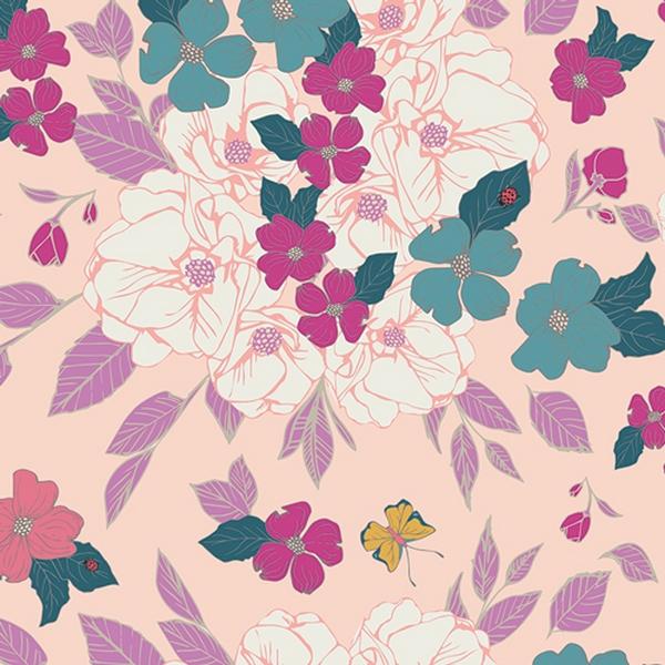 Jersey Baumwolle Blumen lila türkis auf rosa
