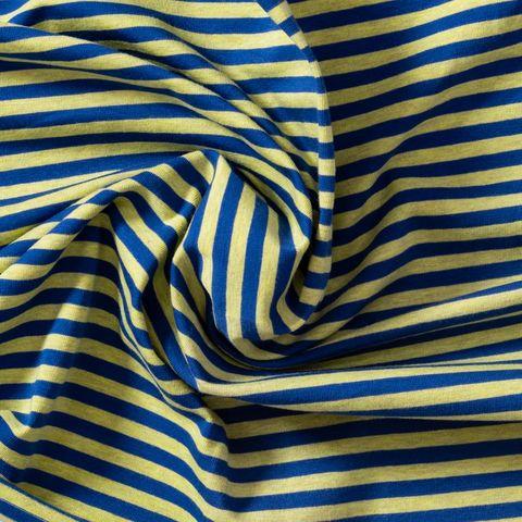Bio Baumwolle Jersey GOTS Streifen meliert limettengrün blau