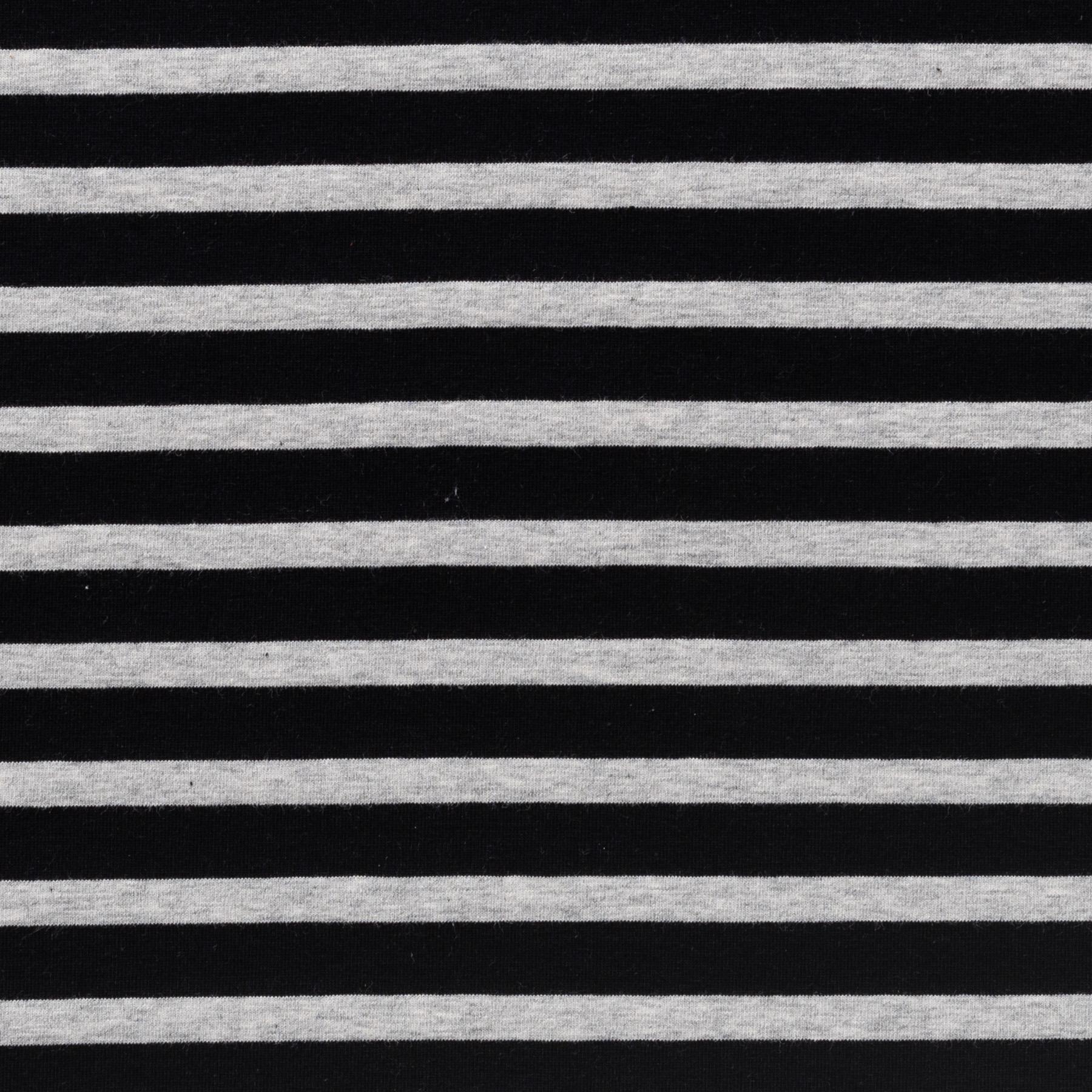 Bio Baumwolle Jersey Streifen meliert schwarz grau