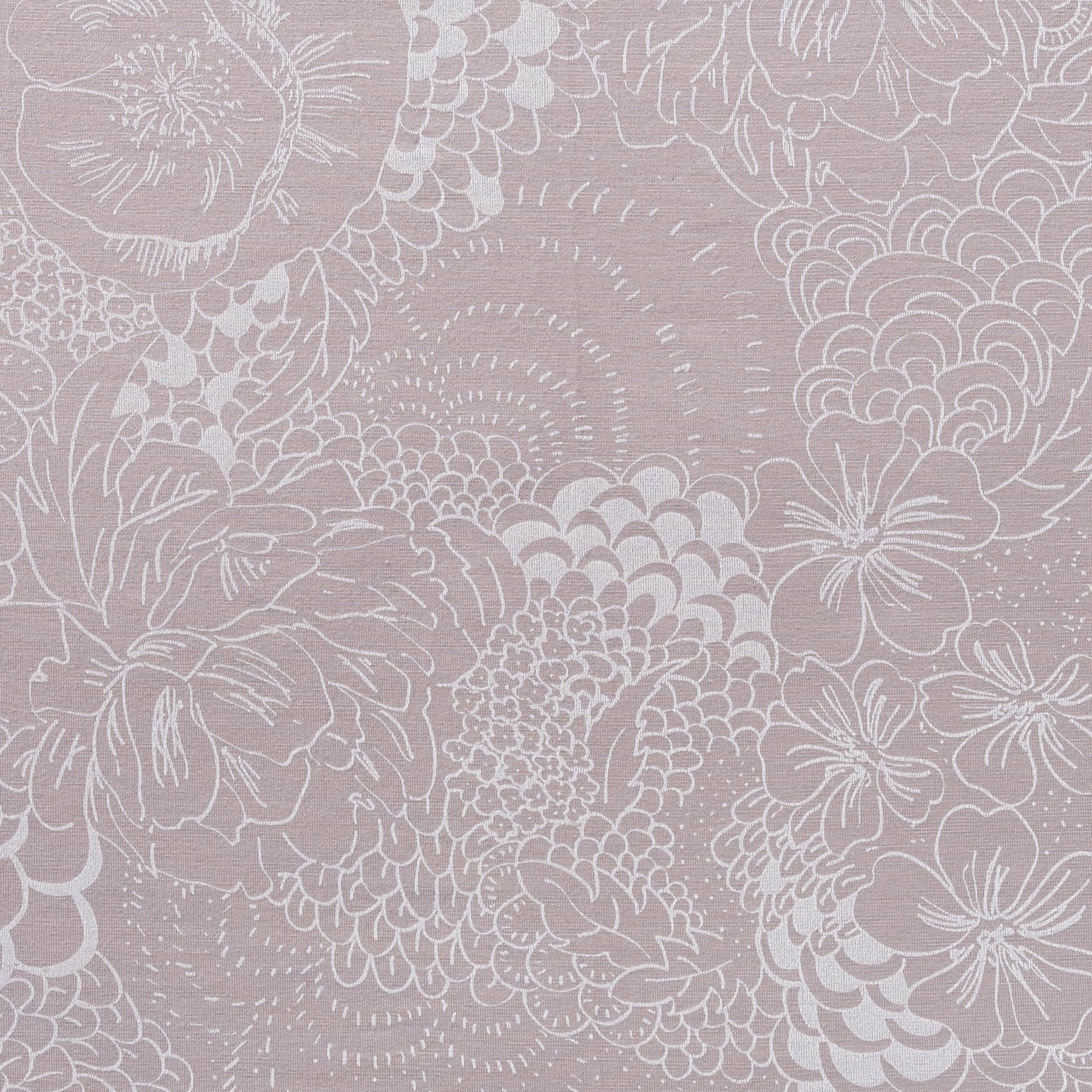 Bio Jersey Modal weiße filigrane Blumen auf taupe