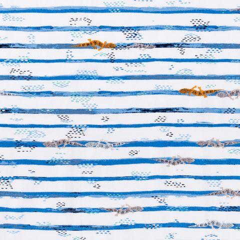 Baumwolle Popeline Echsen auf blauen Streifen