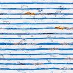 Baumwolle Popeline Echsen auf blauen Streifen  001