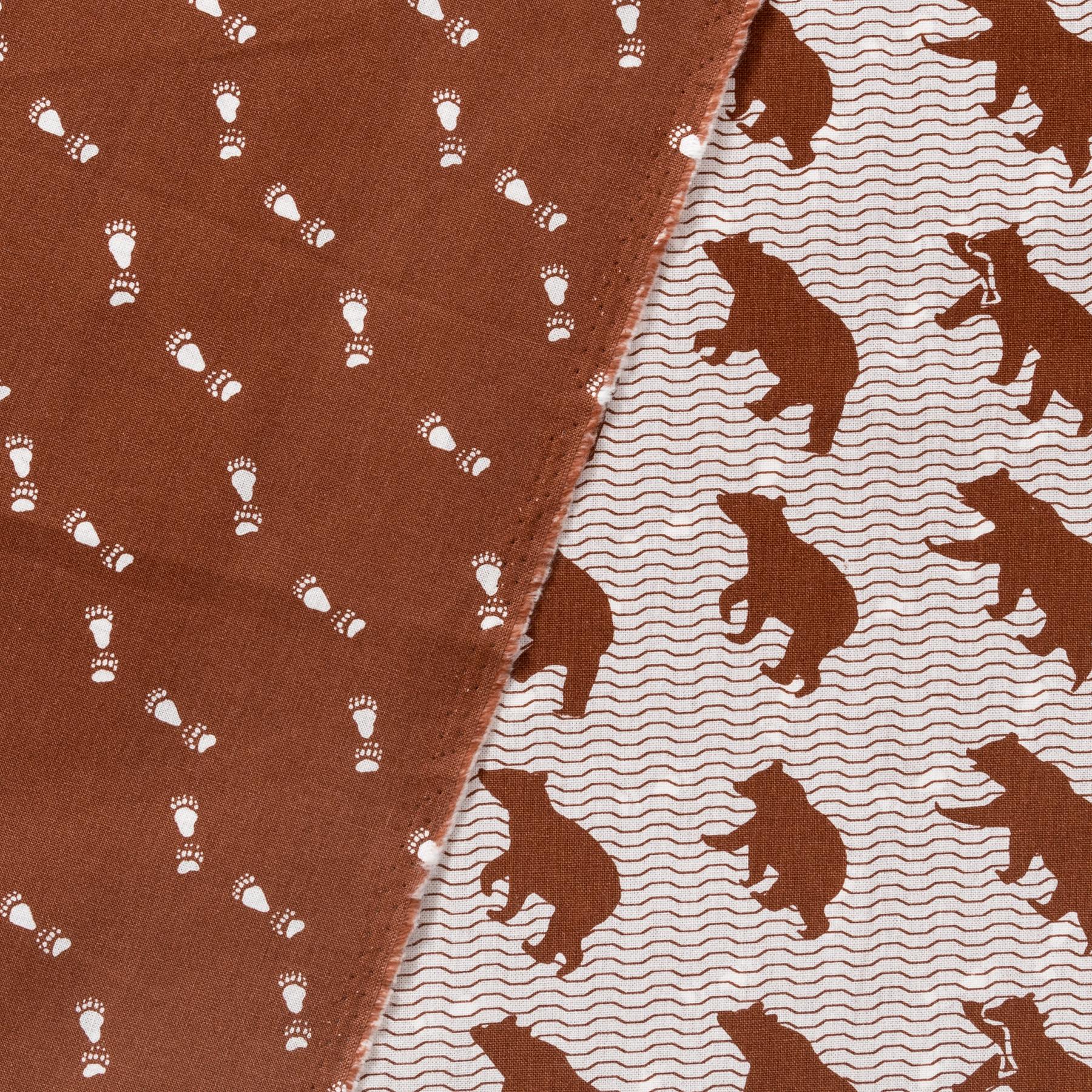 Baumwolle Doubleface Canvas Bären und Tatzen braun weiß
