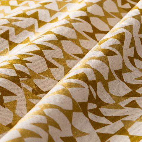 Baumwolle Leinen Canvas goldene Dreiecke auf Natur