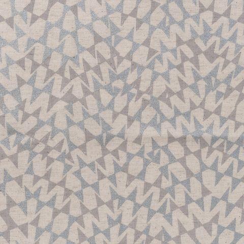Baumwolle  Leinen Canvas silberne Dreiecke auf Natur