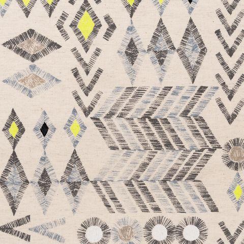 Baumwolle Leinen Canvas Ikatmuster grau und neon gelb