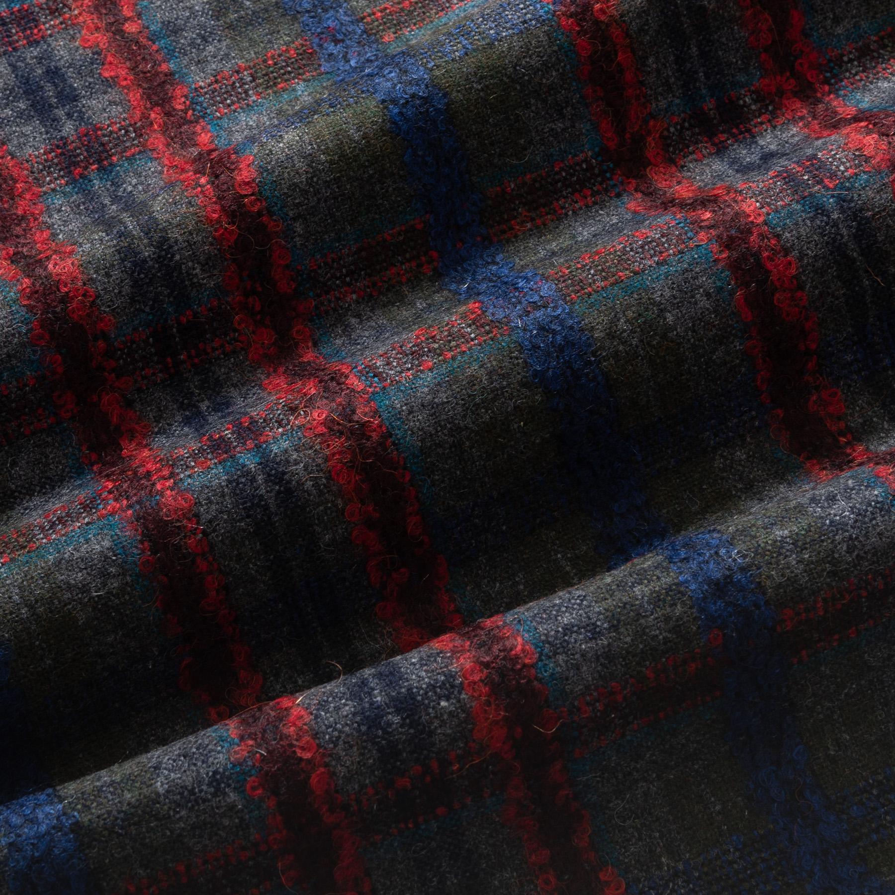 Tweed Wollstoff kariert in grün mit blau und rot
