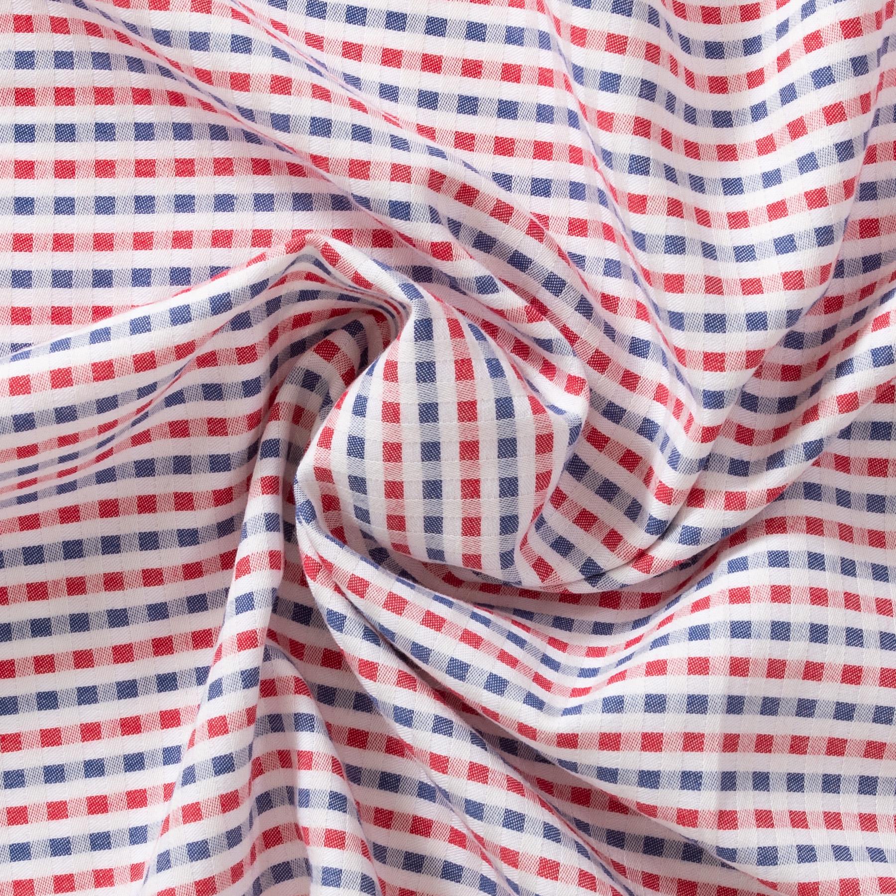 Bio Baumwolle GOTS Popeline Webkaro rot blau weiß