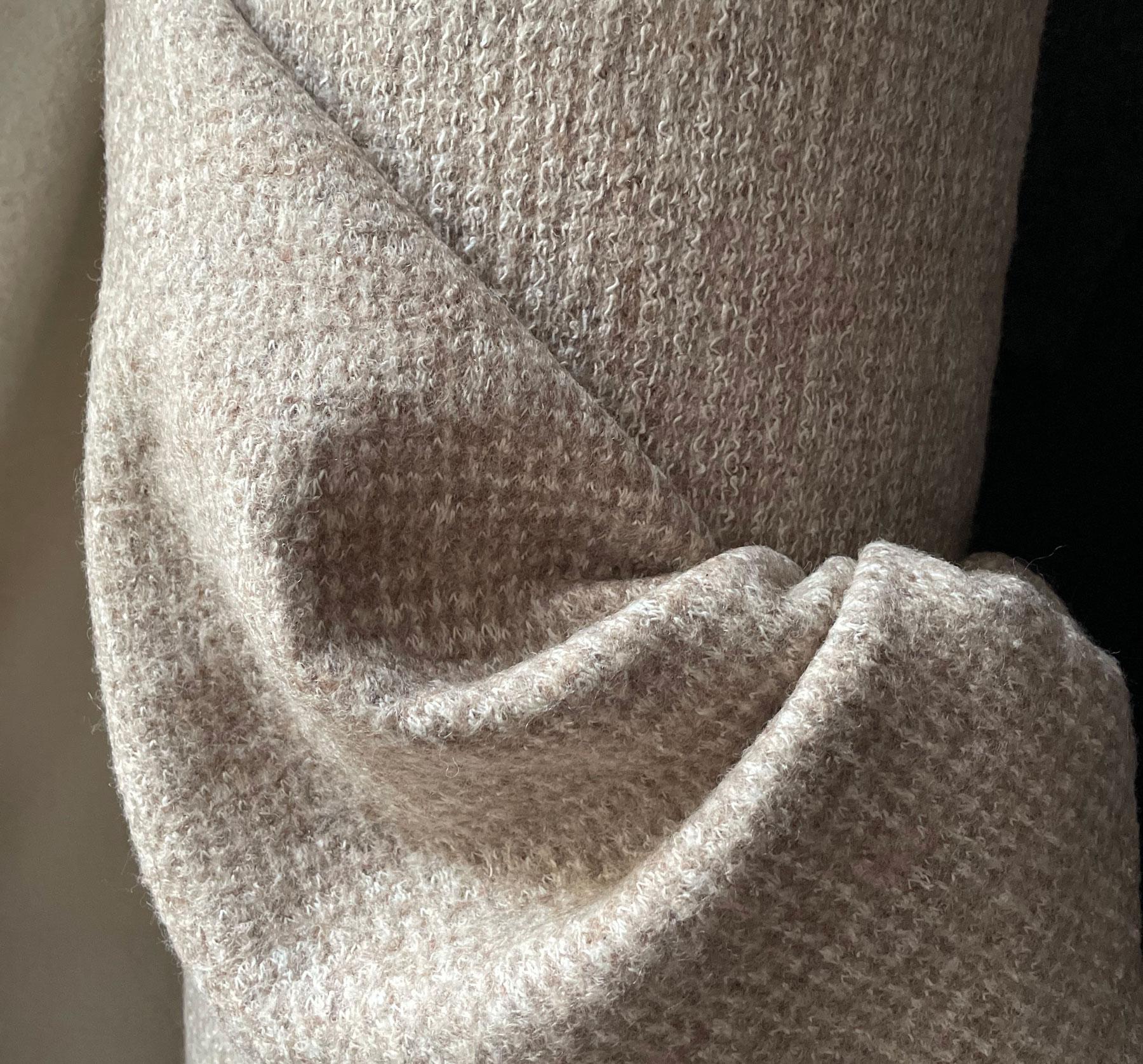 Tweed Wollstoff beige weiß