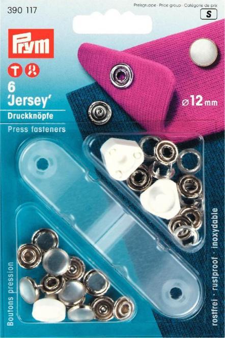 Jersey Druckknöpfe mit glatter matt schwarzer Kappe 12mm