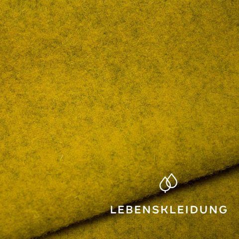 Bio Wollfleece Schurwolle in senfgelb meliert
