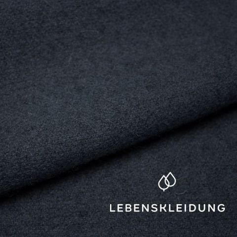 Bio Wollfleece Schurwolle in navy blau