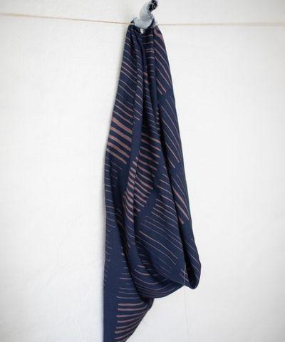 Twill Viskose Blusenstoff abstraktes Muster blau altrosa