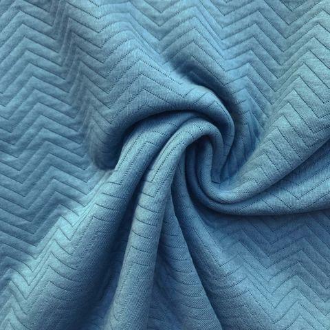 Bio Baumwolle GOTS Recycling Polyester Steppsweat ZickZack hellblau