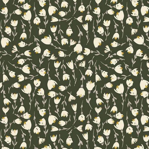 Viskose Voile grün mit Blütenprint in weiß und gelb, Streuartig auf grünem Grund