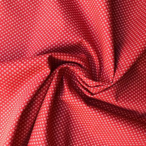 Baumwolle Popeline kleine Blumen weiß auf rot