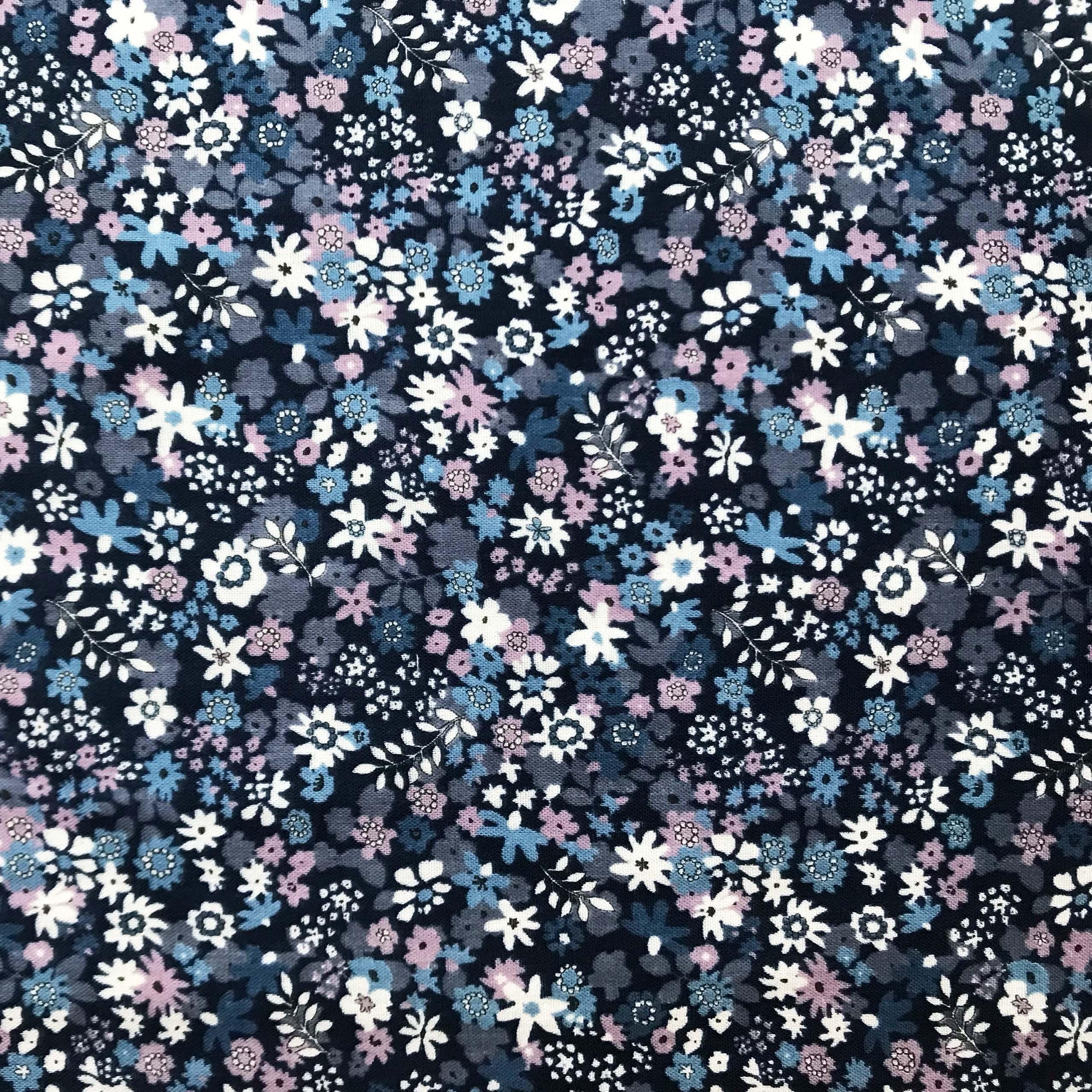 Baumwolle Musselin blau weiß rosafarbene Blümchen auf navy