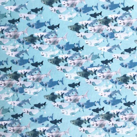 Baumwolle Popeline Haie blau und grau auf türkis