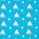 Bio Jersey mit Elasthan GOTS Segelboote in weiß und grau auf hellblau  001