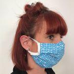 Mund Nase Maske waschbar aus 100% Bio Baumwolle, Kringelmuster blau auf weiß