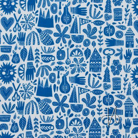 Bio Baumwolle Popeline GOTS blaues Allerlei auf weiß