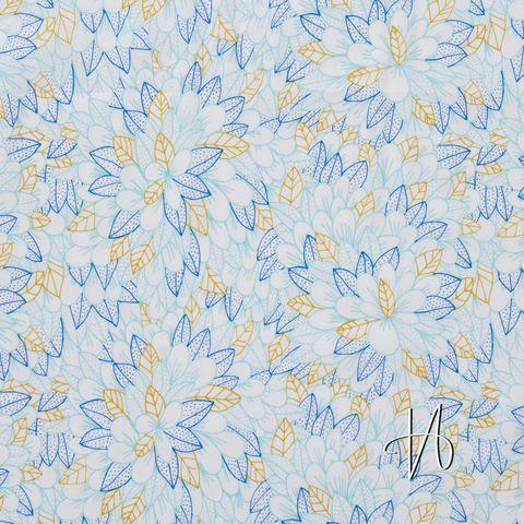 Bio Baumwolle Voile GOTS feine Blüten blau auf weiß