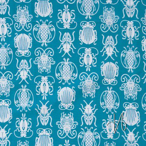 Baumwolle Popeline Käfer weiß auf blau