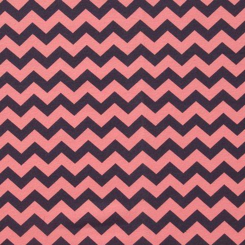 Bio Jersey GOTS Zickzack pink dunkelgrau 0,5m