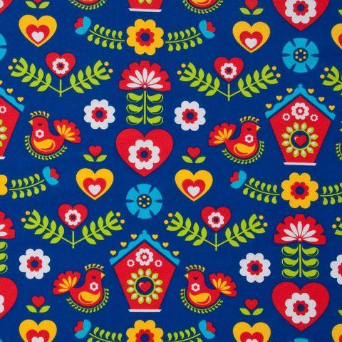 Bio Jersey GOTS Folkloremuster rot gelb auf blau
