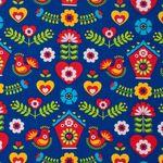 Bio Jersey GOTS Folkloremuster rot gelb auf blau  001