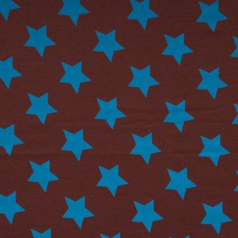 Bio Jersey GOTS Sterne blau auf braun