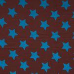 Bio Jersey GOTS Sterne blau auf braun 0,5m 001