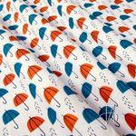 Bio Baumwolle Popeline GOTS Regenschirme blau rot auf weiß  001