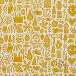 Bio Baumwolle Popeline GOTS Allerlei gelb auf weiß  001