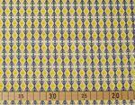 Baumwolle Popeline grafisches Muster blau auf gelb  001