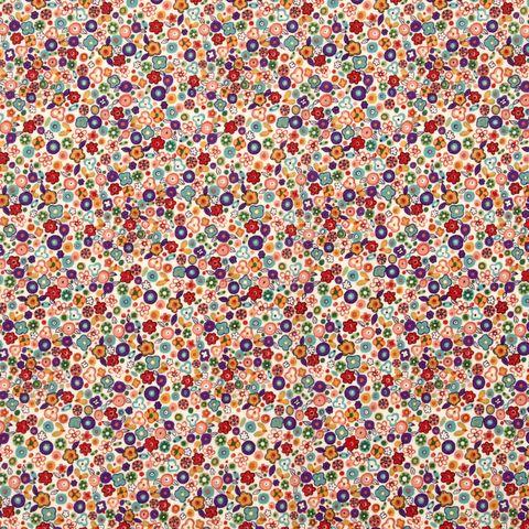 Baumwolle Popeline Blumen Millefleurs bunt