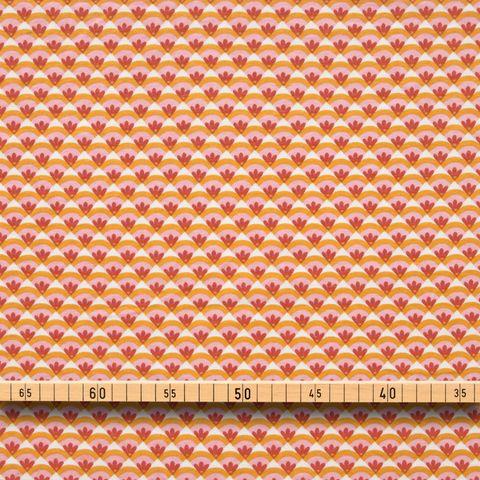 Bio Baumwolle Jersey (GOTS) Blumen rosa rot auf orange