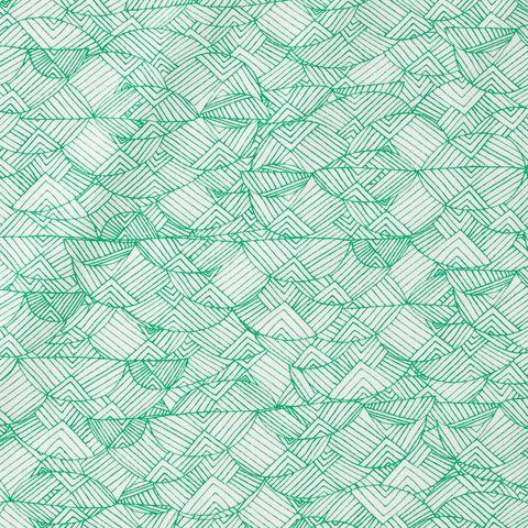 Baumwolle Popeline feines grafisches Muster in grün auf weiß