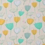 Baumwolle Popeline Blumen gelb und türkis auf beige  001