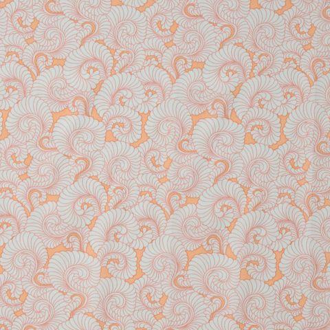 Baumwolle Popeline Muscheln hellgrau auf lachs rosa