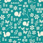 Baumwolle Leinen Canvas japanisch Bauernmuster beige auf türkis  001