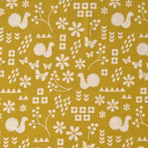 Baumwolle Leinen Canvas japanisch Bauernmuster beige auf gelb 0,5m