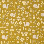Baumwolle Leinen Canvas japanisch Bauernmuster beige auf gelb 0,5m 001