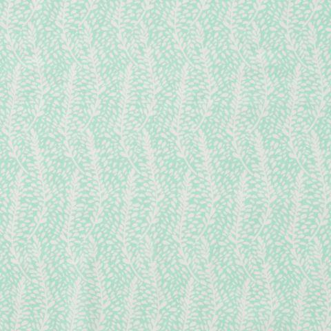 Baumwolle Popeline Blätter weiß auf mint grün