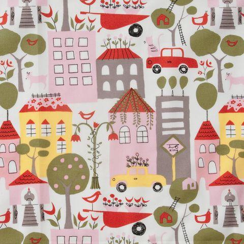Bio Baumwolle Popeline Häuser Autos rosa grün auf weiß
