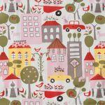 Bio Baumwolle Popeline Häuser Autos rosa grün auf weiß  001