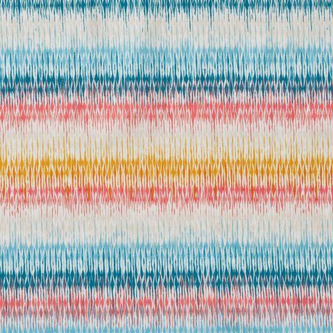 Baumwolle Popeline Ikatstreifen blau rot gelb